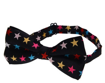 Pre-tied Bowties.Black Bowtie With Colorful Stars.Stars Bowties.Performance Bowties