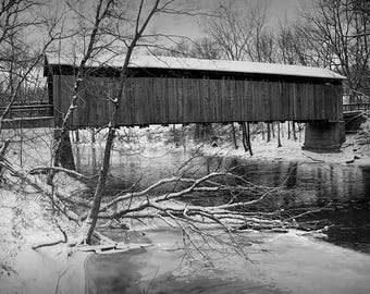 Covered Bridge, Ada Bridge, Wooden Bridge, Winter Photograph, Thornapple River, Ada Michigan, Fine Art Photograph, Black & White, Sepia Tone