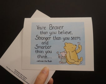 Classic pooh brave encouragement i love you inspire breast cancer thinking of you pooh greeting card winnie the pooh and piglet
