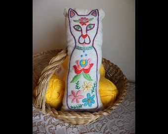 Folk Kitty Cat, Hand Embroidery, Kalocsa Inspired, Flowers, Colorful, Pin Cushion, Poppet, Doll, Plush, Red, Pink, Green, Yellow, Pillow