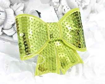 "Set of 2 - XL Sequin Bows - 3"" Metallic LIME GREEN  Sequin Bow Tie Appliques. Hair Accessories. Diy Supplies. Large Sparkling Bow"