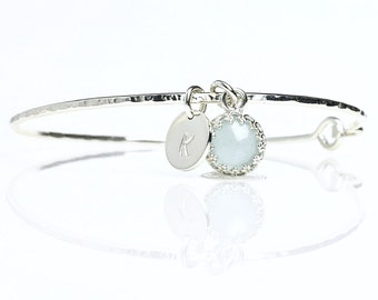 Genuine Aquamarine CharmBracelet / Milky Aquamarine  Bangle / March Birthstone / New Mother Push Gift / March Birthday Jewelry