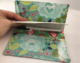 Blue Duplicate Checkbook Cover Register Blue Duplicate Checkbook Reigster Fabric Checkbook Cover Pen Holder Riley Blake Garden Main in Teal