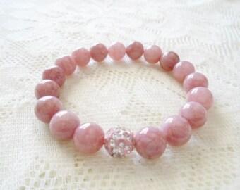 Pink Agate pink crystal ball bracelet, Gemstone Mala bracelet