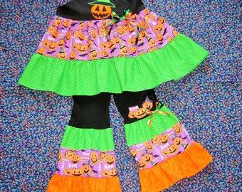 Halloween Pumpkin Patch Outfit 18m - 8 Jack O' Lantern Top blouse Shirt pants leggings