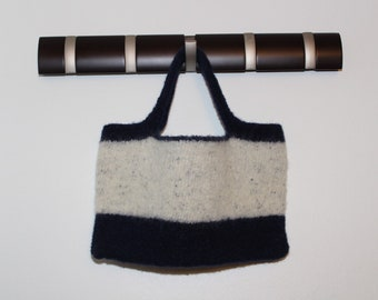 Blue & White Felted Tote