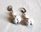Terracotta earrings, Pear...