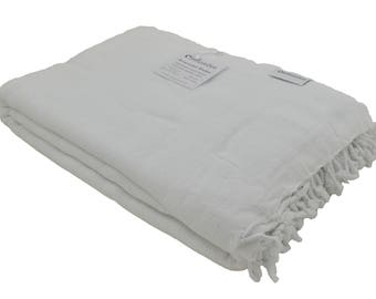 White Stonewashed Turkish Throw Blanket for a Sofa, Bed or Love Seat, Soft Luxury Stone Washed Cotton Turkish Blanket, Unique Wedding Gift