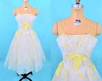 """1950s prom dress   yellow white floral spaghetti strap cupcake dress   vintage 50s dress   W 24"""""""