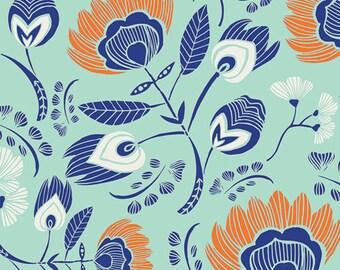 Tule Flora's Oasis in Naranja, Leah Duncan, Art Gallery Fabrics, 100% Cotton Fabric, TL-30020