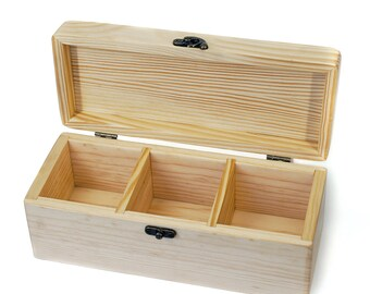 Wooden Tea box / Storage Tea bag / Organizer Box / Valentine's day Gifr / 3 compartments / Home Décor / Jewelry box /  Tea Bag Box