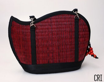 Handmade red purse woven grass not bamboo wave shape crossbody or over the shoulder CRI