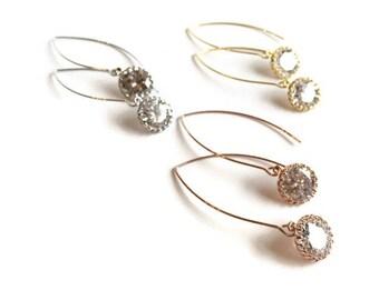 Long Cubic Zirconia Drop Earrings