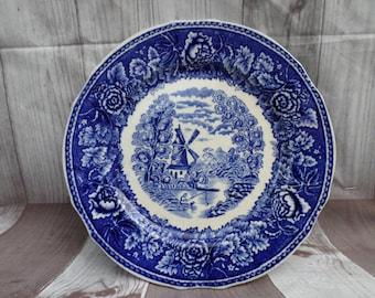 Vintage Arabia Of Finland Landscape Blue Dinner Plate