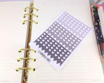 Mini grey heart checklist stickers; Ombre Stickers; Filofaxing; Erin Condren; Cute Stickers; Kawaii Stickers; Colour Coding; Planner Sticker