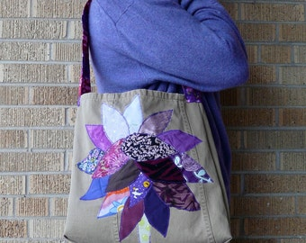 Upcycled Tote or Market Bag Orchid Purple Tree Recycled Purse