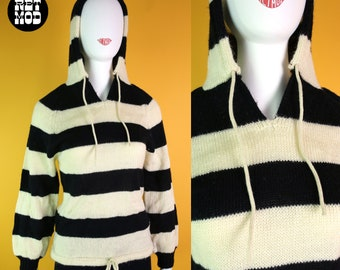 Bold Graphic Vintage 70s 80s Black & Off-White Stripe Acrylic Knit Hooded Sweater