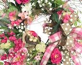 Spring Wreath Decor, Pink...