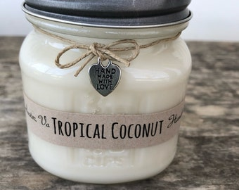 Tropical Coconut 8oz Soy Wax Candle All Natural Handmade Vegan Eco Friendly