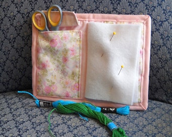 Rose Trellis Needle Book, Needle Case, Hand Sewing Organizer