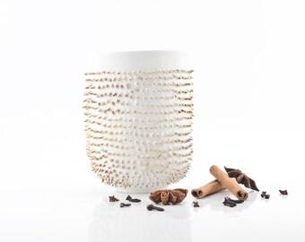 Porcelain Mug Decorated with Gold, Spiked Coffee Mug, Quirky Mug