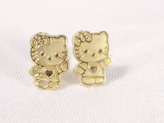 14K Solid Gold Hello Kitty Earrings Unique Gold Earrings 14k