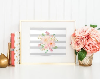 10x8 Pink and Gray Watercolor Flowers