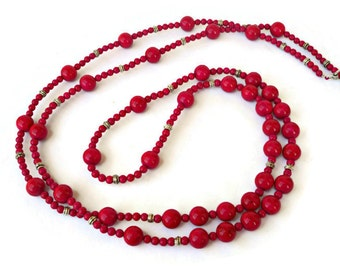 Red bead necklace, Natural stone jewelry, Long beaded necklace, Red necklace for women, Red stone necklace, Long necklace, Beaded necklace