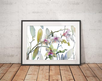 White Pink Orchids Goldfish  Watercolor Print Wall Art Watercolor Floral Prints Home Decor Botanical Print White Orchids Surreal Art Print