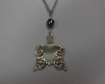 Free Form with Pearl  Antique Fork Necklace