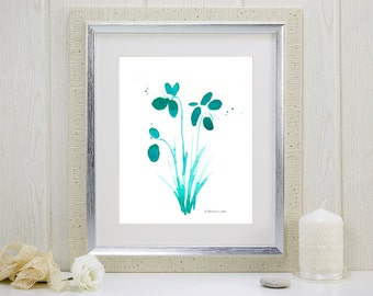 "Teal watercolor flowers art print: ""Dewdrop Orchids"""