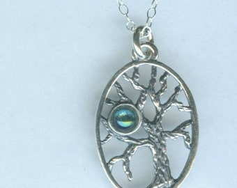 Sterling Silver TREE OF LIFE with Aqua Aura Pendant and Chain