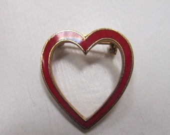 On Sale Red Enameled Heart Pin Item K # 1730