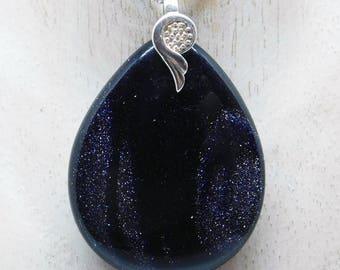 Gargantilla de plata esterlina con colgante de Arenisca azul