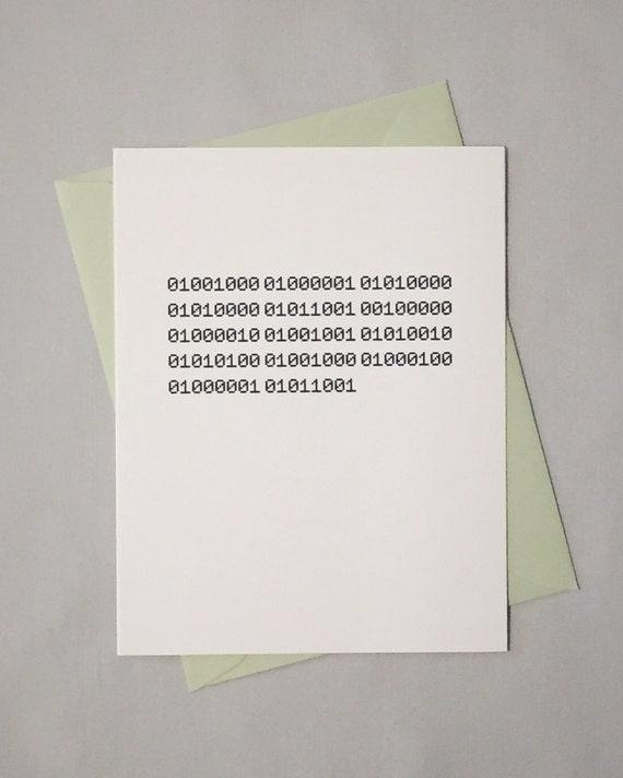 Binary Birthday Card / Binary Code / Happy Birthday Card For