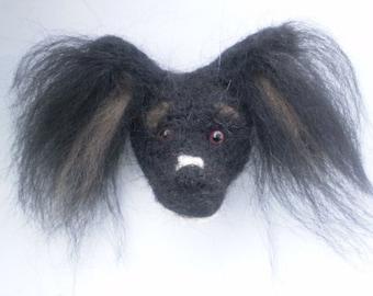 Black Papillon Needlefelted Dog