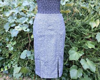Gray Tweed Pencil Skirt / Gray Office Skirt / Gray Wool Pencil Skirt / High Waist Business Secretary Skirt / Form Fitted Tweed Skirt- Size 4