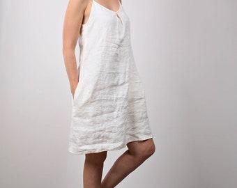 Linen sundress. Strap dress. Handmade dress. Midi dress. Soft linen dress. Sleeveless  sundress. Casual dress. Romantic dress. Beach dress.