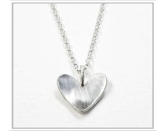 Domed Heart Necklace - Sterling Silver