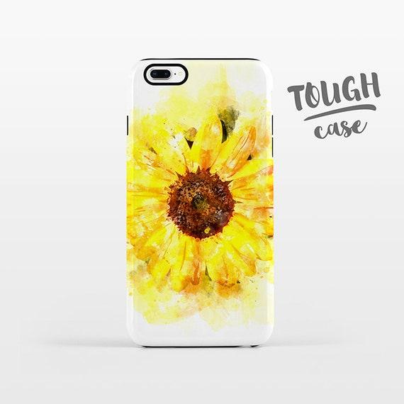 Watercolor Sunflower Phone Case iPhone X Case iPhone 8 Plus Case iPhone 7 Plus Case iPhone 6 Case iPhone 6S Case 5s 5c 5 4 Floral TOUGH