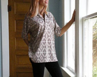 Vintage Silky Polyester Mod Op Art Short Sleeve Shirt Men Sz Small