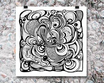 "Art Print ""Intestines"" - Print of Black and White Abstract Drawing 8"" x 10"" B2G1F"