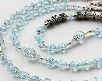 Sparkling Sky Blue Crystal Rosary, Swarovski Rosary, First Communion Gift, Wedding Rosary, Bridal Bouquet Rosary