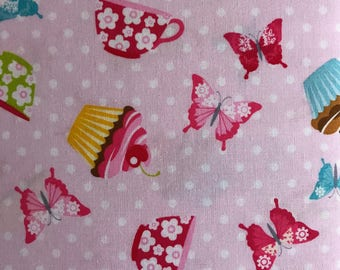 Butterflies and cupcakes fabric