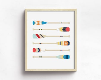 nautical print, nautical wall art, canoe paddle print, wooden boat paddle art, coastal print, painted oars wall art