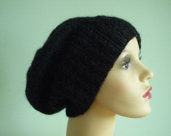 Hand knit dark green alpaca slouchy hat