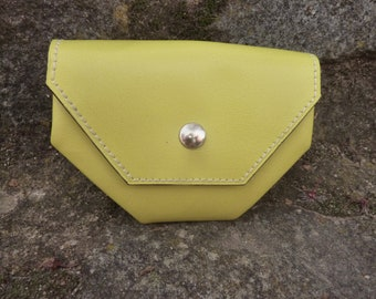 leather purse, wallet, yellow leather purse, wallet, woman
