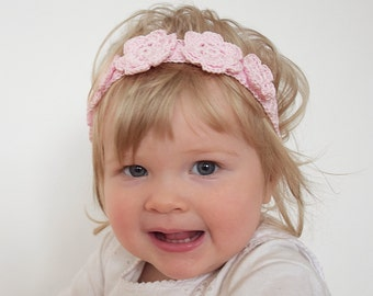 Baby Girl Flower Crown, Crochet Floral Crown, Flower Girl Headband, Newborn Headband, Infant Headband with Flowers, Baby Birthday Headband