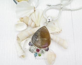 Jasper Green Amethyst Blue Topaz Garnet and Peridot Sterling Silver Pendant and Chain