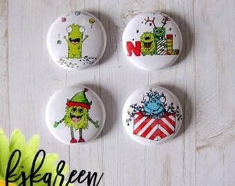 "Badge 1 ""- monsters Christmas by Tartine plush"